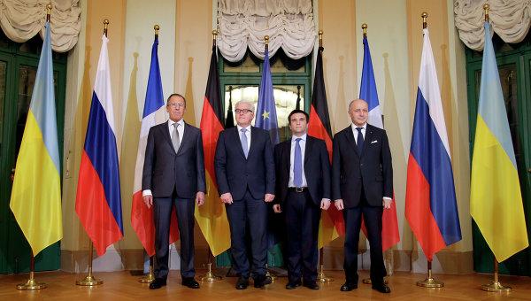 Сергей Лавров, Франк-Вальтер Штайнмайер, Павел Климкин и Лоран Фабиус на встрече по ситуации на Украине