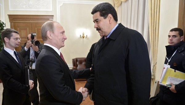 Президент РФ В.Путин и президент Венесуэлы Н.Мадуро. Архивное фото