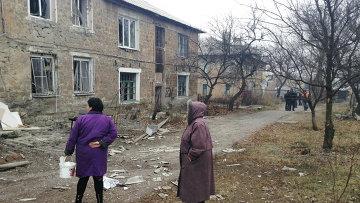 Последствия обстрела Донецка украинскими силовиками. 28 января 2015