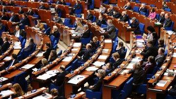 Делегаты в зале на пленарном заседании зимней сессии Парламентской ассамблеи Совета Европы (ПАСЕ)