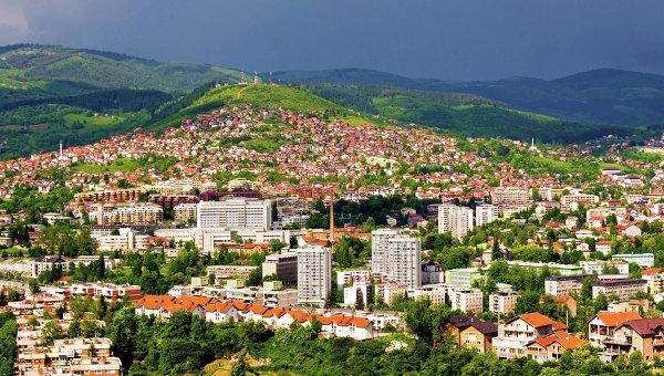 Вид города Сараево, Босния и Герцеговина. Архивное фото.