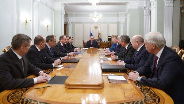 Президент РФ В.Путин проводит совещание с постоянными членами Совета Безопасности РФ. 30 января 2015