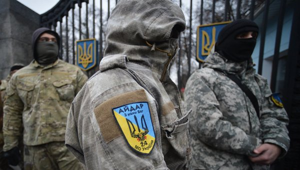 Митинг батальона Айдар у Минобороны Украины. Архивное фото.
