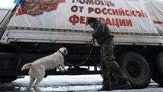 Украинский пограничник досматривает грузовой автомобиль двенадцатой колонны МЧС России с гуманитарной помощью для Донбасса