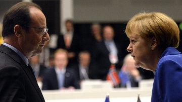 Президент Франции Франсуа Олланд и Федеральный канцлер Германии Ангела Меркель