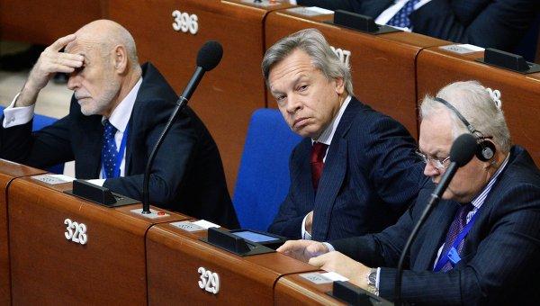 Председатель комитета Государственной Думы РФ по международным делам Алексей Пушков на заседании ПАСЕ