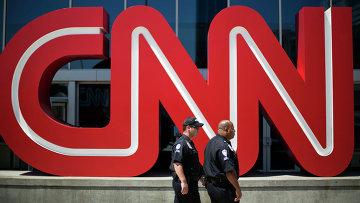 Логотип телеканала CNN в Атланте, США