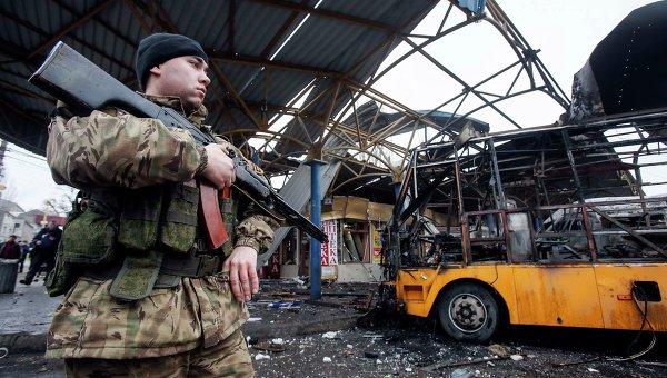 Последствия обстрела Донецка 11 февраля 2015