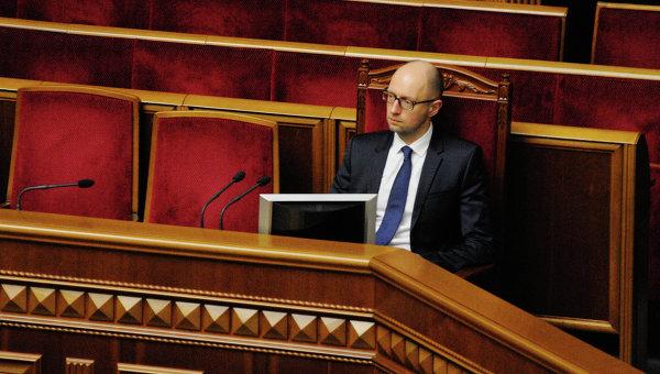 Премьер-министр Украины Арсений Яценюк во время заседания Верховной рады Украины. Архивное фото