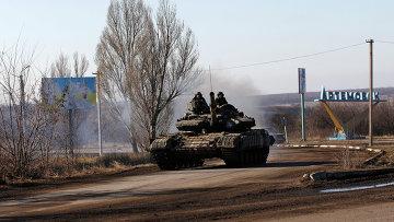 Танк украинских вооруженных сил возле города Артёмовск