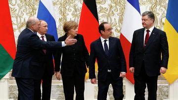 Президент Белоруссии Александр Лукашенко, президент России Владимир Путин, канцлер Германии Ангела Меркель, президент Франции Франсуа Олланд и президент Украины Петр Порошенко. Архивное фото