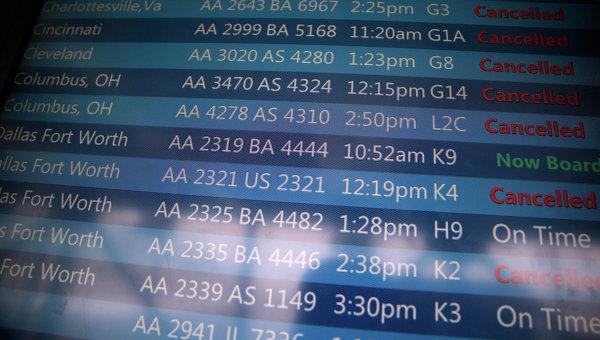 Отмена рейсов из-за снегопада в аэропорту США. Архивное фото