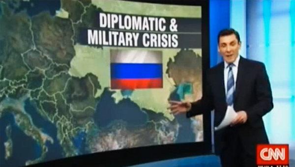 Скриншот новостного выпуска CNN с картой России, в составе которой внезапно оказалась территория Украины