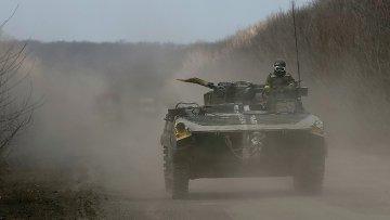 Украинские военные возле Дебальцево 20 февраля 2015