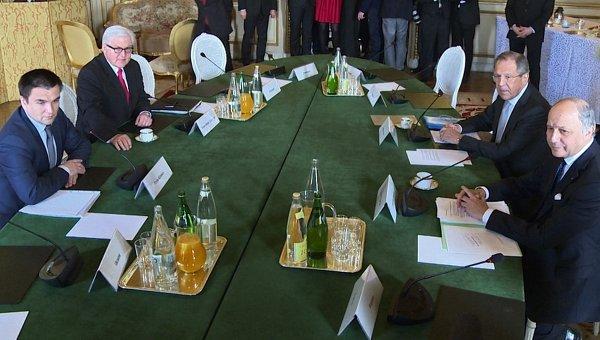 Министр иностранных дел Франции Лоран Фабиус, министр иностранных дел РФ Сергей Лавров, министр иностранных дел Украины Павел Климкин и министр иностранных дел Германии Франк-Вальтер Штайнмайер