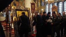 Икона Божьей матери Патриотки в церкви министерства национальной обороны Греции