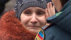 Родственники горняков приехали на шахту в Донецке, где произошел взрыв