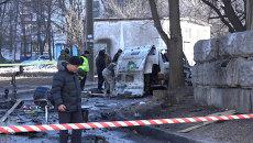 Последствия взрыва автомобиля комбата Слобожанщины в Харькове