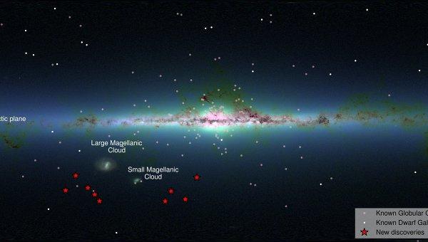 Расположение девяти карликовых галактик относительно диска Млечного Пути