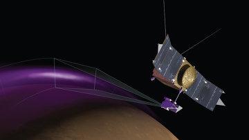 Так художник представил себе зонд MAVEN, пролетающий через зоны полярных сияний в атмосфере Марса