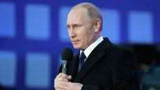 Президент России Владимир Путин выступает на митинге-концерте Мы вместе!. 18 марта 2015
