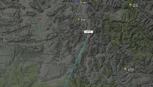 Последнее местоположение самолета Airbus A320 авиакомпании Germanwings, потерпевшего крушение во Франции