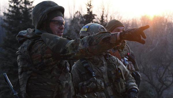 Бойцы батальона Азов под Широкино, Донецкая область