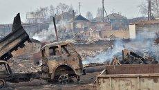 Последствия природных пожаров в селе Знаменка Республики Хакасия. Архивное фото