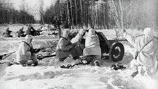 Момент битвы за Москву - боевые действия советских и немецких войск на московском направлени. Архив