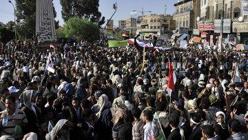 Участники акции протеста, поддерживающие шиитское движение. Архивное фото