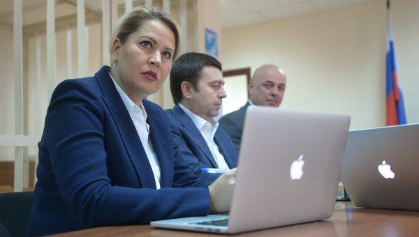 Бывшая глава департамента имущественных отношений министерства обороны России Евгения Васильева в Пресненском суде Москвы. 24 апреля 2015