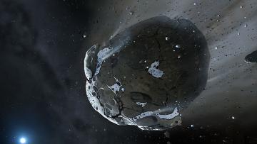Рисунок астероида, пережевываемого белым карликом