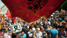 Митинг оппозиции в Скопье, Македония