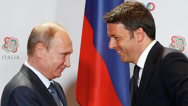 Президент России Владимир Путин и премьер-министр Италии Маттео Ренци. Архивное фото