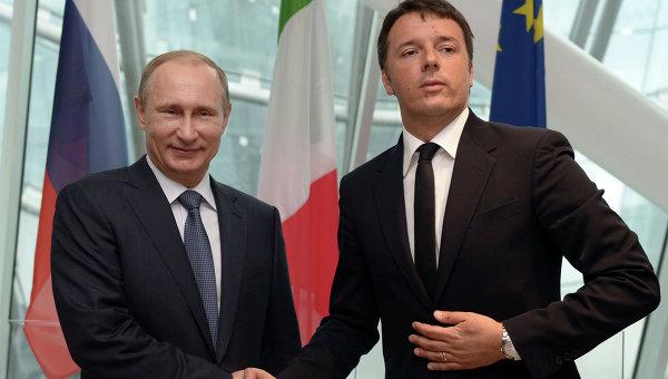 Президент России Владимир Путин (слева) и премьер-министр Италии Маттео Ренци. Архивное фото