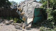 Последствия обстрелов поселка Октябрьский в Донецке