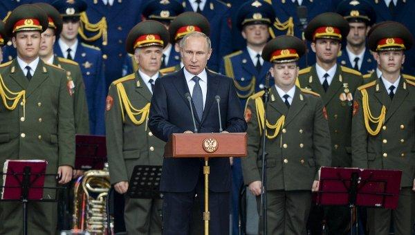 Президент России Владимир Путин выступает на церемонии открытия Международного военно-технического форума Армия-2015
