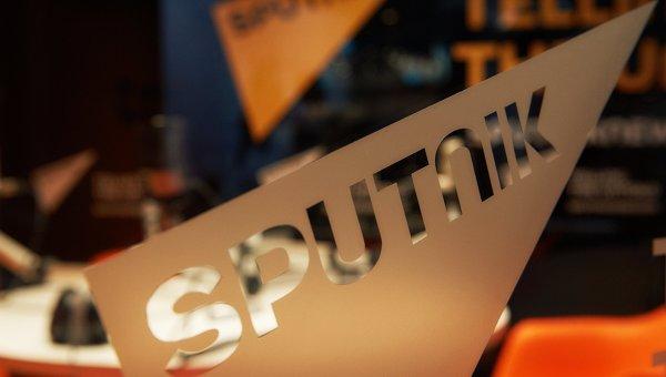 Павильон международного информационного бренда Спутник перед открытием Петербургского международного экономического форума 2015
