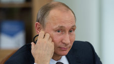 Президент России Владимир Путин во время встречи с руководителями ведущих мировых информационных агентств в рамках XIX Петербургского экономического форума.