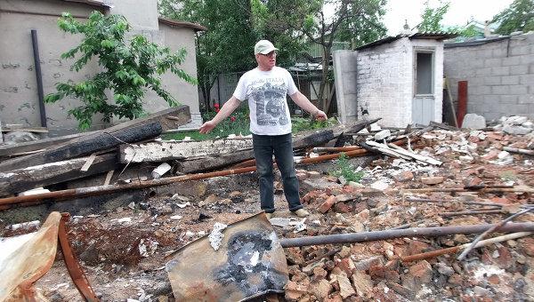 Последствия обстрела Октябрьского района Донецка