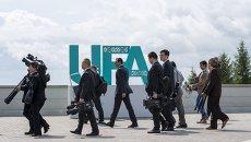 Журналисты в Международном пресс-центре саммитов БРИКС и ШОС в Уфе