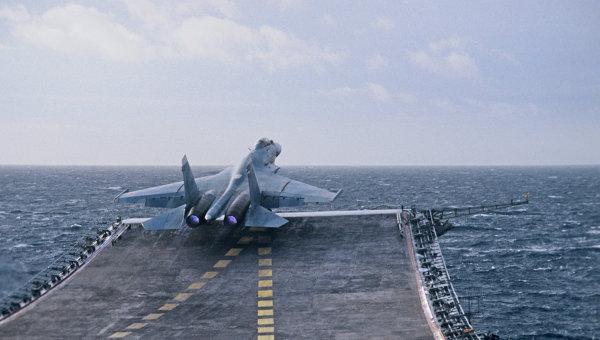 Вылет Су-27К с палубы крейсера. Архивное фото