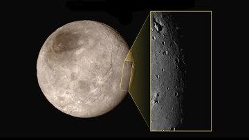 Фотография ущелья с горой на поверхности Харона. Снимок камеры LORRI