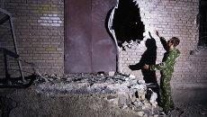 Разрушенное здание в Донецке
