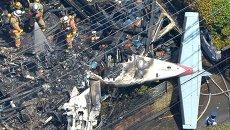 На месте крушения легкомоторного самолета в городе Тёфу, Япония