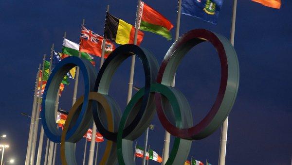 Флаги национальных сборных стран - участниц Олимпийских игр на Медальной площади в Олимпийском парке в Сочи. Архивное фото