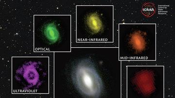 Фотографии одной и той же галактики, полученные разными телескопами