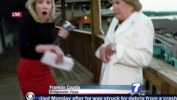 Корреспондент Элисон Паркер в прямом эфире телеканала WDBJ7 во время стрельбы