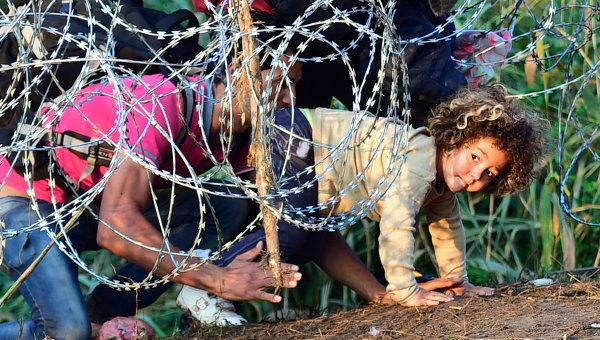 Мигранты проползают под колючей проволокой на Венгерско-Сербской границе. Архивное фото