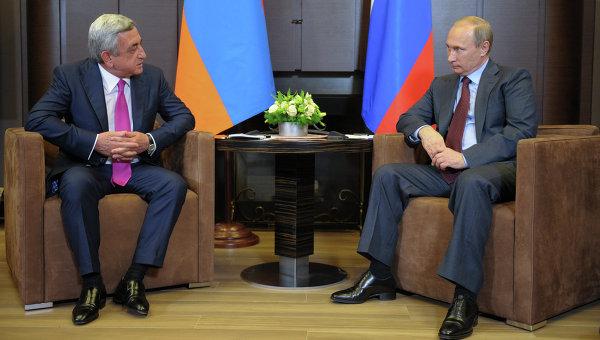 Президент РФ Владимир Путин и президент Армении Серж Саргсян. Архивное фото